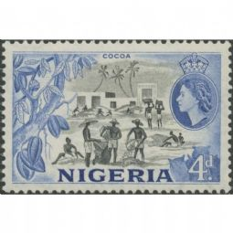Nigeria 1953 SG74 4d. QEII 'Cocoa', black and blue